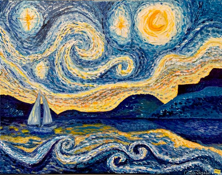 Starry night at the sea - Celeste Sigala
