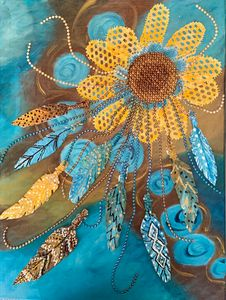 Mixed media sunflower dreamcatcher