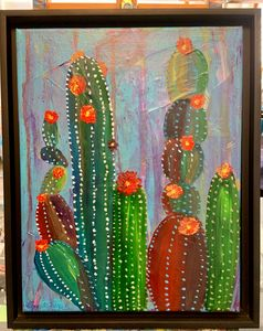 Cactus on mixed media blue