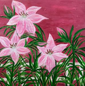 Pink lilies on fence