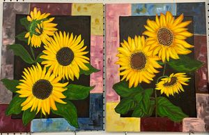 Painted frame sunflowers