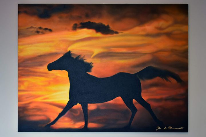 Stallion at Sunset - Jan Konczewski