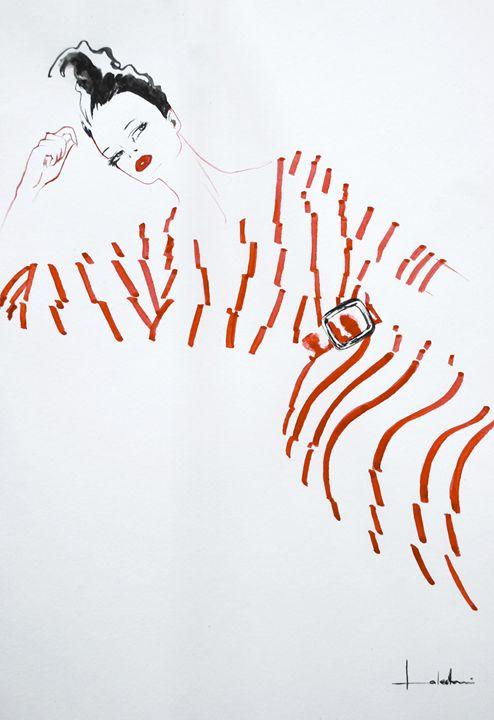 Red Striped Dress - Lakshmi's Art