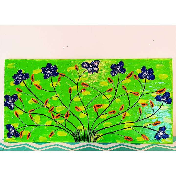 Floral acrylic canvas painting - renuartscollections