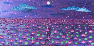 Lotus lake in moonlight