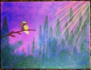 Smoky forest canvas painting