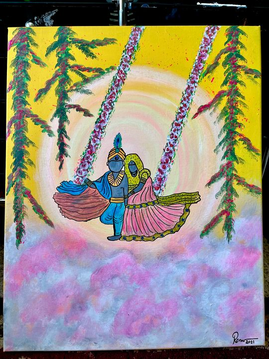 Lord Radha Krishna painting canvas - renuartscollections