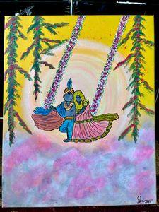 Lord Radha Krishna painting canvas