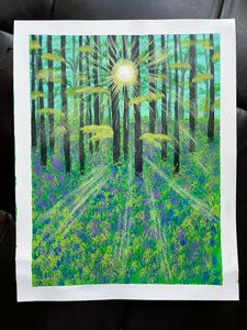 Sunrise in forest painting