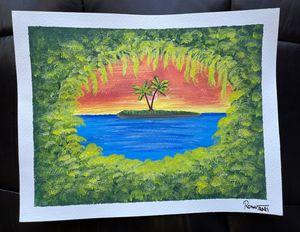 Island view acrylic painting