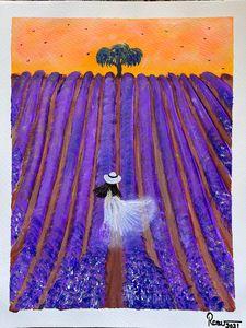 Tulip field farm acrylic painting