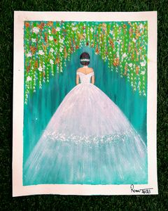 Wedding gown acrylic painting