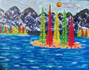 Modern landscape canvas painting