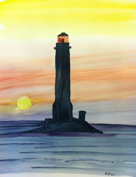A light house at sunset - Eva Asons Art