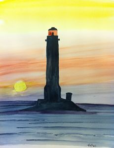 A light house at sunset