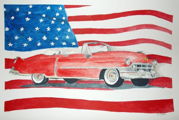 Cadillac with American Flag - Eva Asons Art