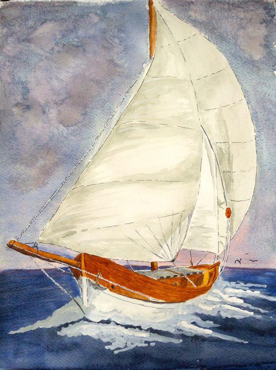 Wooden Sail boat - Eva Asons Art