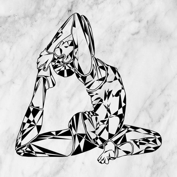 One-Legged King Pigeon Pose (B&W) - VernGuard Artistry