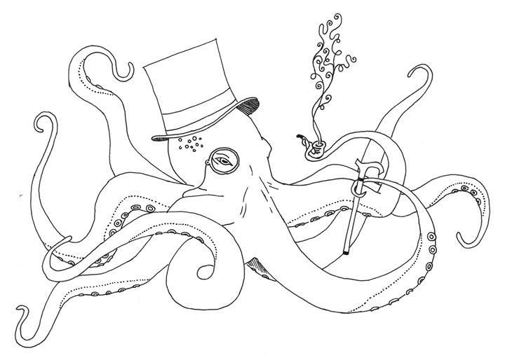 Sir Octopus (outline) - KADoodles