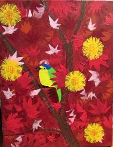 Red Leaves, Yellow Flowers, and Bird
