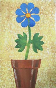 Single Blue Flower in a Pot