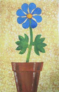 Single Blue Flower in a Pot