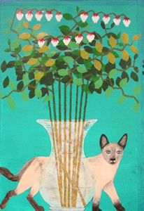 Siamese Cat and Vase of Flowers
