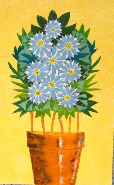 Blue Daisies in Tan Pot - Chris Butler