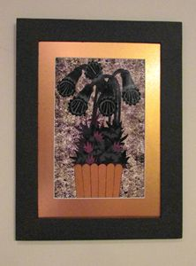 Black Flowers with Gold Mat