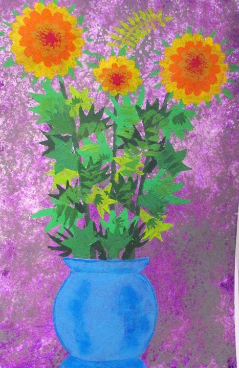 Yellow/Orange flowers in Blue pot - Chris Butler