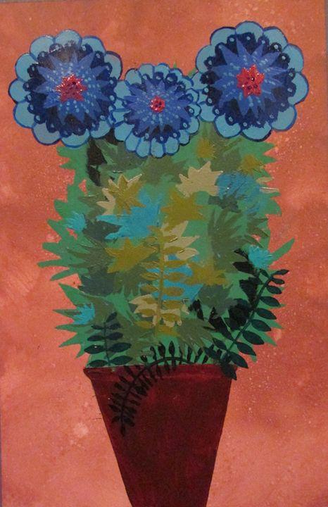 Blue Flowers in Pink Pot - Chris Butler