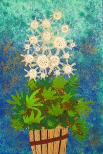 White Flower, Green Leaves, Wood Pot