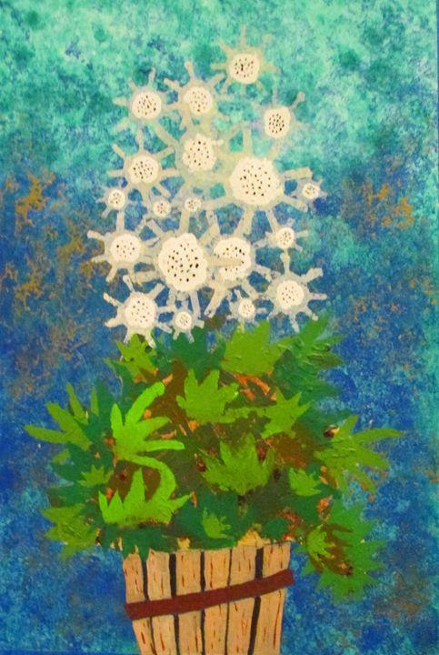 White Flower, Green Leaves, Wood Pot - Chris Butler