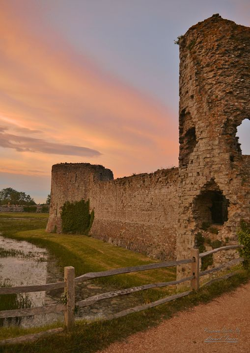 Pevensey Castle Sunset - Lionel Fraser, Pictures of Eastbourne, England