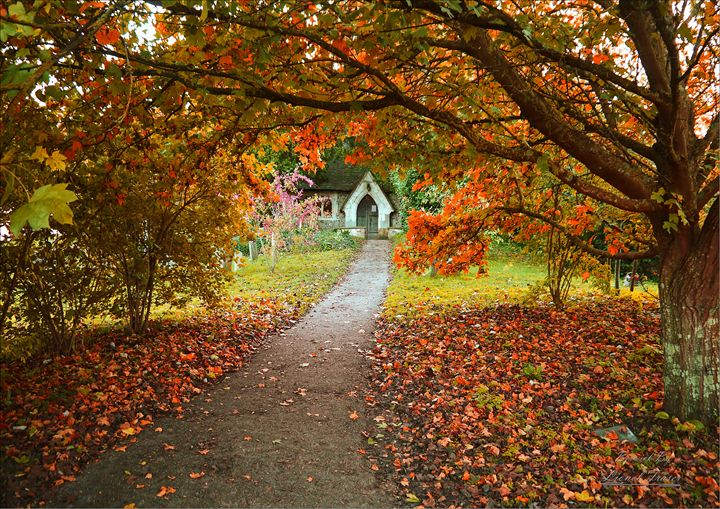 Autumn Berwick Church - Lionel Fraser, Pictures of Eastbourne, England
