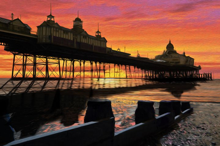 Pier at Sunset Oil Painting Style - Lionel Fraser, Pictures of Eastbourne, England