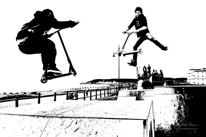 Skaters at Skate Park Eastbourne - Lionel Fraser, Pictures of Eastbourne, England