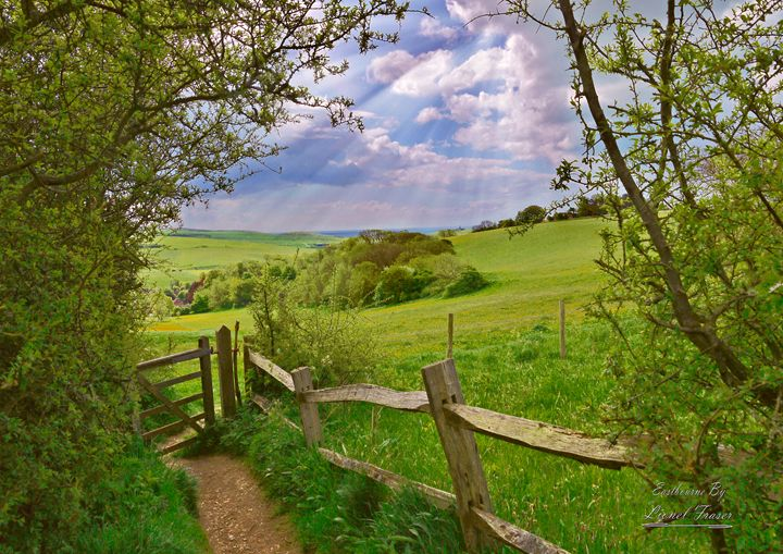 Fiston Hill English Countryside - Lionel Fraser, Pictures of Eastbourne, England