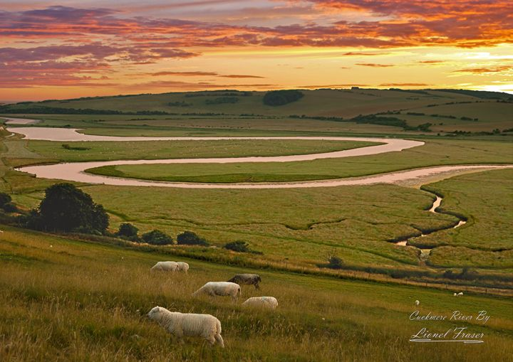 Cuckmere River Sunset - Lionel Fraser, Pictures of Eastbourne, England