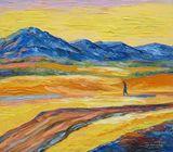 mountains,the traveler,impressionism