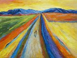 road,impressionism,mountains,people