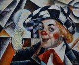 clown,circus,realism,parrot