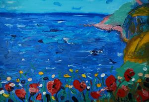 poppies against the sea