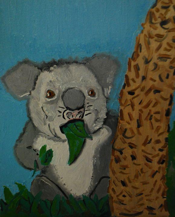surprised koala eats eucalyptus - Kaliberdarts