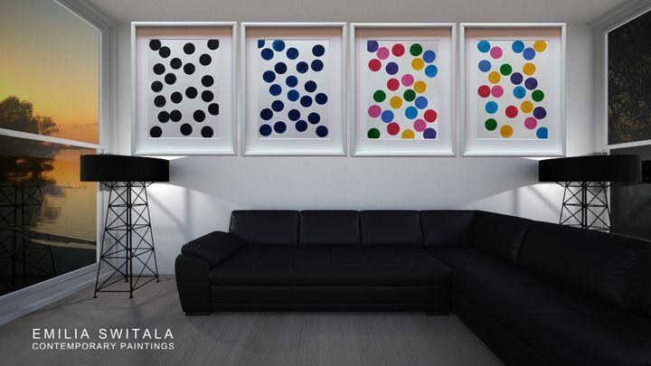 4 art prints, Dots - Emilia Switala Contemporary Paintings