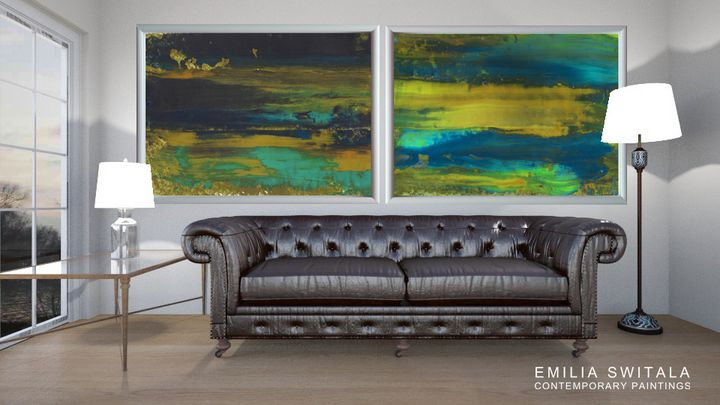 XL Large 2 Prints Abstract Landscape - Emilia Switala Contemporary Paintings