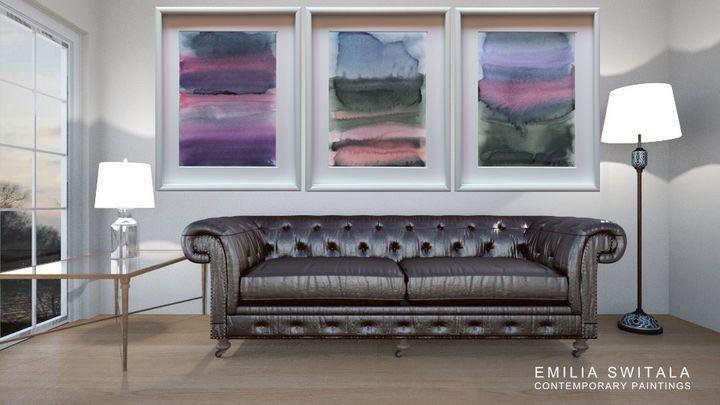 3 Art Prints, Purple Horizon - Emilia Switala Contemporary Paintings