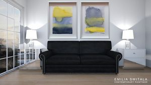 2 Art Prints Yellow Gray Storm