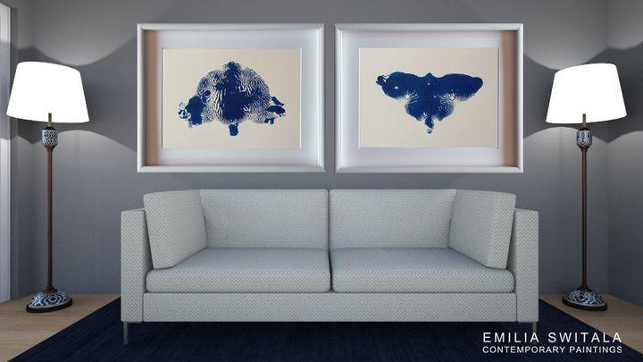 2 Art Prints, Moth and Panda Bear - Emilia Switala Contemporary Paintings