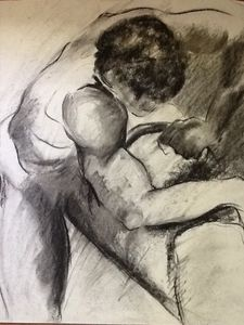 Charcoal study of male form